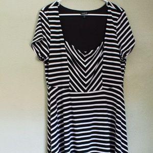 Torrid Plus Midi Black and White Striped Dress